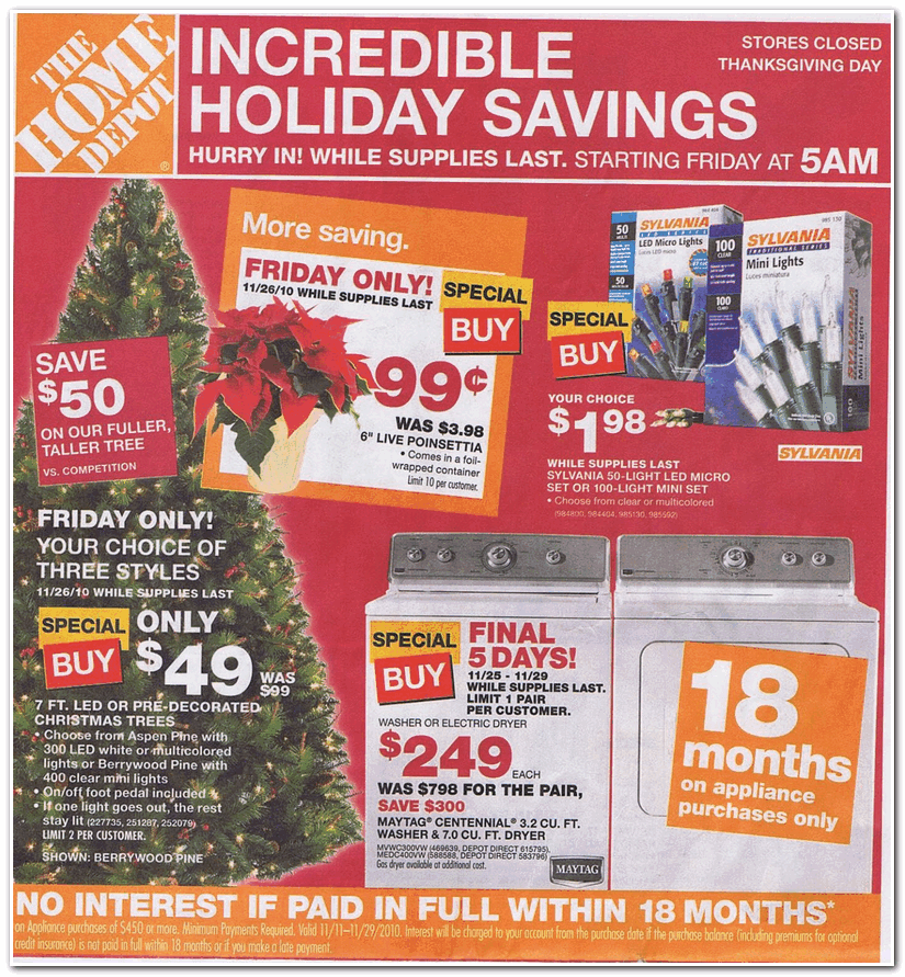 Home depot black friday advertisement pictures.