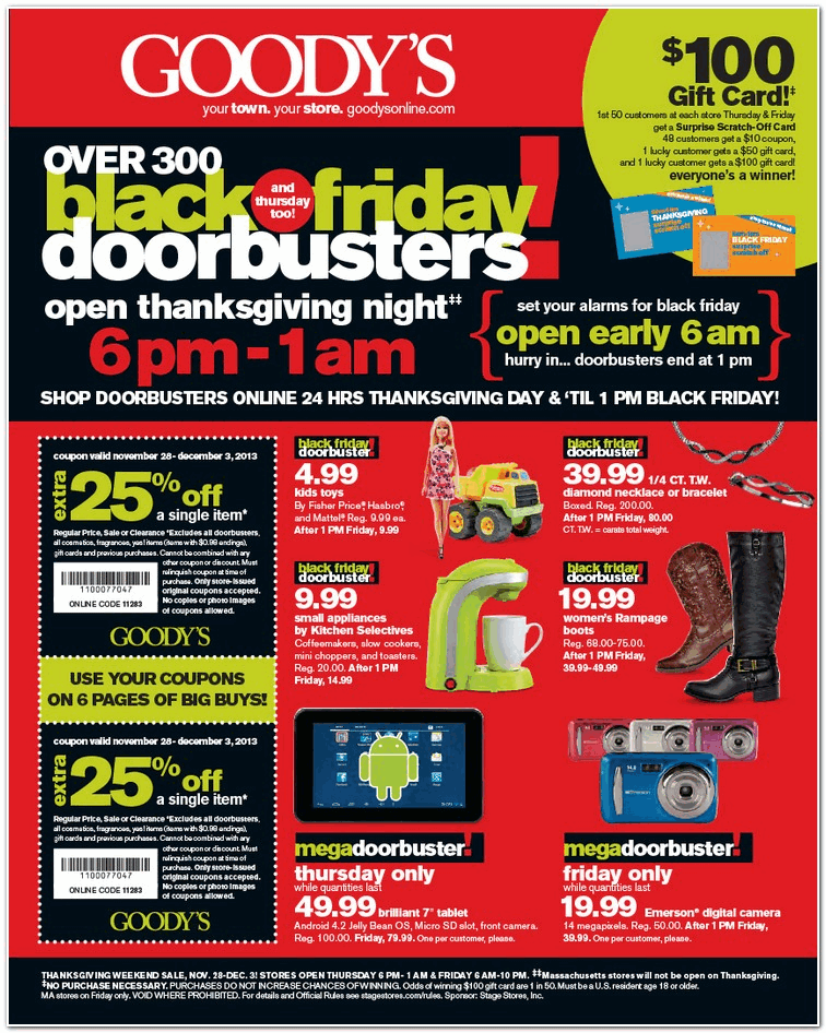 Here is the Goody's Black Friday Ad Scan !Here are all 48 pages of the Goody's Black Friday Ad Scan for you to browse katherinarachela7xzyt.gq's will be opening at NOON on Thanksgiving day and staying open until 1am! They will reopen at 6am on Friday and stay open until 10pm!